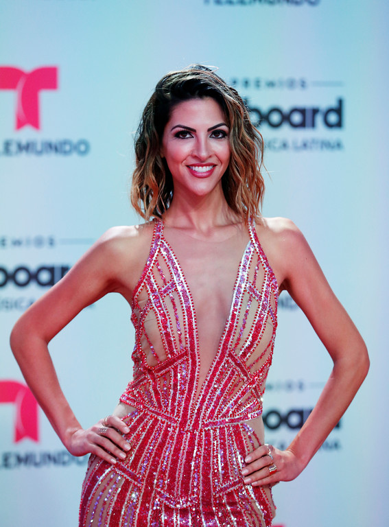 . Model Miriam Isa arrives at the Latin Billboard Awards, Thursday, April27, 2017 in Coral Gables, Fla. (AP Photo/Wilfredo Lee).
