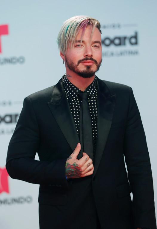 . Singer J Balvin arrives at the Latin Billboard Awards, Thursday, April 27, 2017 in Coral Gables, Fla. (AP Photo/Wilfredo Lee)