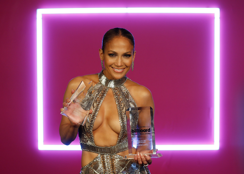 . Singer Jennifer Lopez appears back stage with her awards at the Latin Billboard Awards, Thursday, April 27, 2017 in Coral Gables, Fla. (AP Photo/Wilfredo Lee)