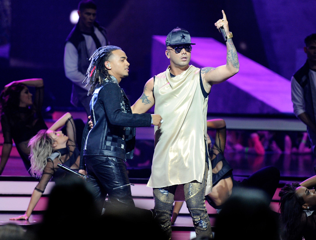 . CORAL GABLES, FL - APRIL 27:  Ozuna and Wisin perform onstage at the Billboard Latin Music Awards at Watsco Center on April 27, 2017 in Coral Gables, Florida.  (Photo by Sergi Alexander/Getty Images)