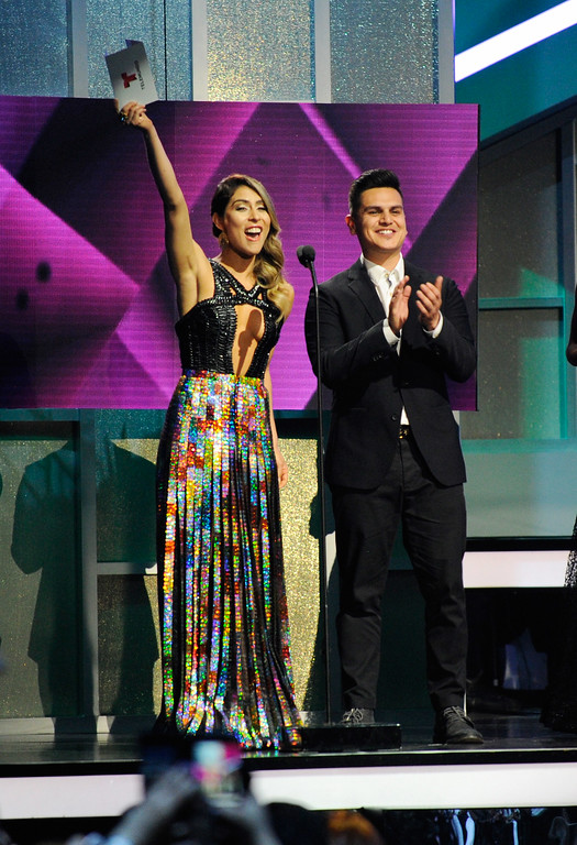 . CORAL GABLES, FL - APRIL 27:  Maria Leon and Regulo Caro onstage at the Billboard Latin Music Awards at Watsco Center on April 27, 2017 in Coral Gables, Florida.  (Photo by Sergi Alexander/Getty Images)