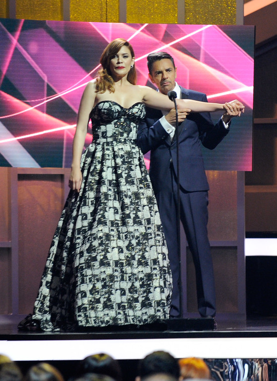 . CORAL GABLES, FL - APRIL 27:  Angelica Celaya and Eugenio Derbez onstage at the Billboard Latin Music Awards at Watsco Center on April 27, 2017 in Coral Gables, Florida.  (Photo by Sergi Alexander/Getty Images)