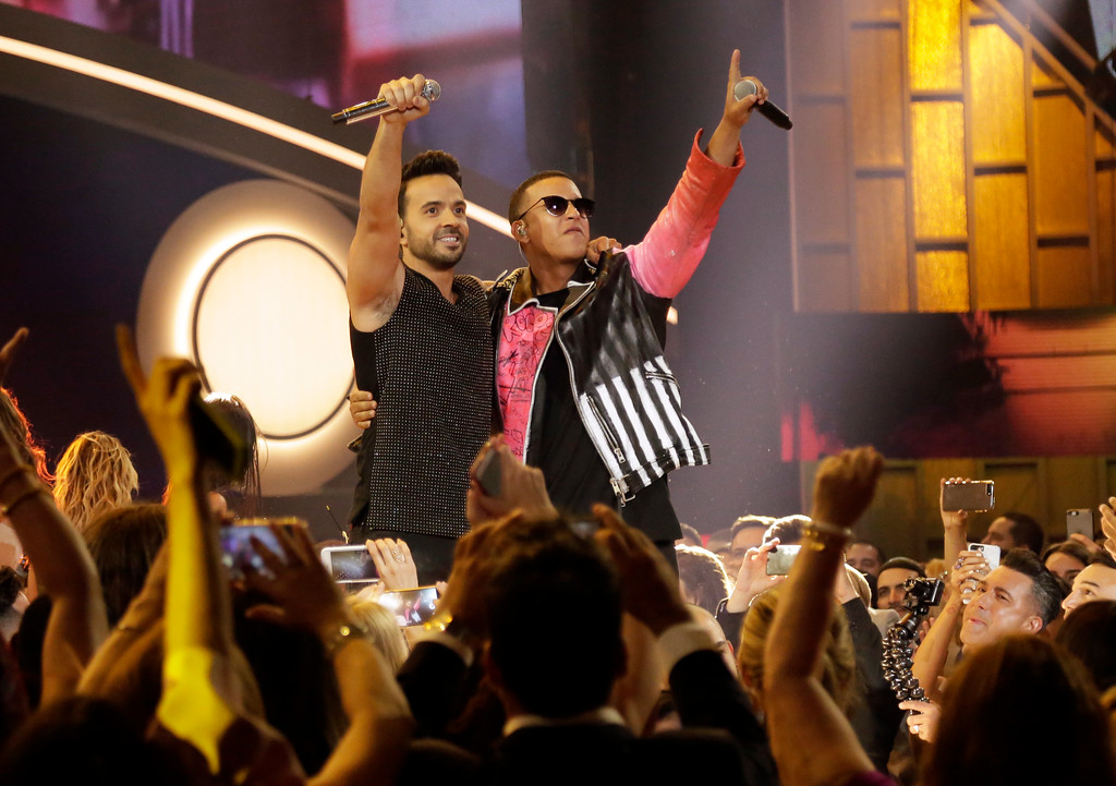 . Singers Luis Fonsi, left, and Daddy Yankee perform during the Latin Billboard Awards Thursday, April 27, 2017 in Coral Gables, Fla. (AP Photo/Lynne Sladky).