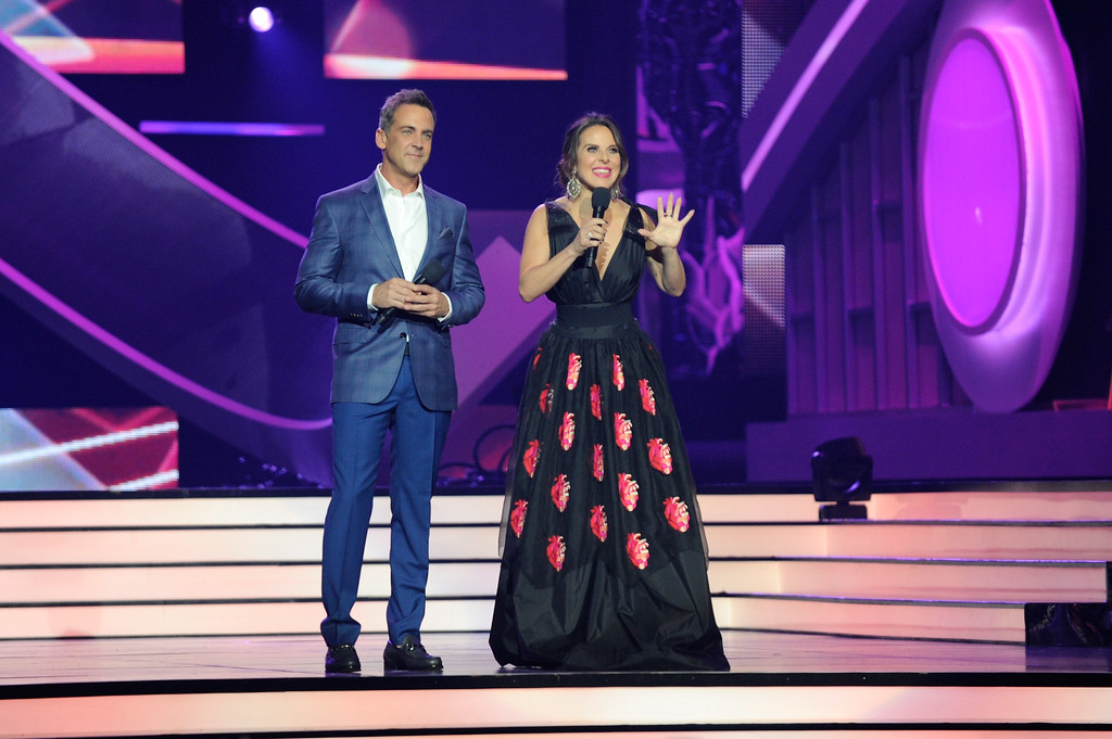 . CORAL GABLES, FL - APRIL 27:  Hosts Carlos Ponce and Kate del Castillo onstage at the Billboard Latin Music Awards at Watsco Center on April 27, 2017 in Coral Gables, Florida.  (Photo by Sergi Alexander/Getty Images)