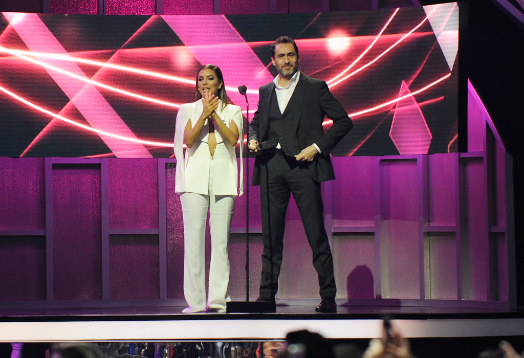 . CORAL GABLES, FL - APRIL 27:  Eva Longoria and Demián Bichir onstage at the Billboard Latin Music Awards at Watsco Center on April 27, 2017 in Coral Gables, Florida.  (Photo by Sergi Alexander/Getty Images)
