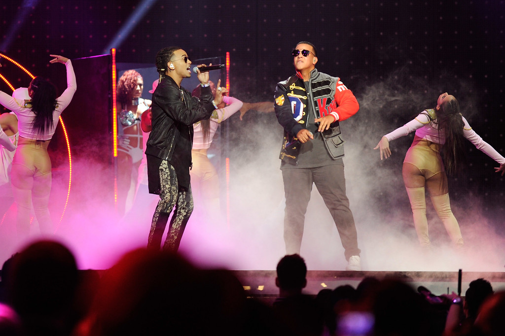 . CORAL GABLES, FL - APRIL 27:  Ozuna and DaddyYankee perform onstage at the Billboard Latin Music Awards at Watsco Center on April 27, 2017 in Coral Gables, Florida.  (Photo by Sergi Alexander/Getty Images)