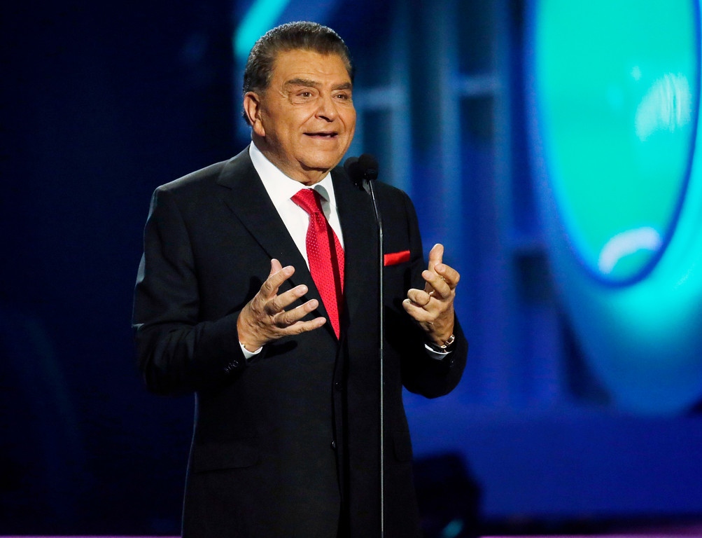 . TV personality Don Francisco speaks during the Latin Billboard Awards, Thursday, April 27, 2017 in Coral Gables, Fla. (AP Photo/Lynne Sladky)
