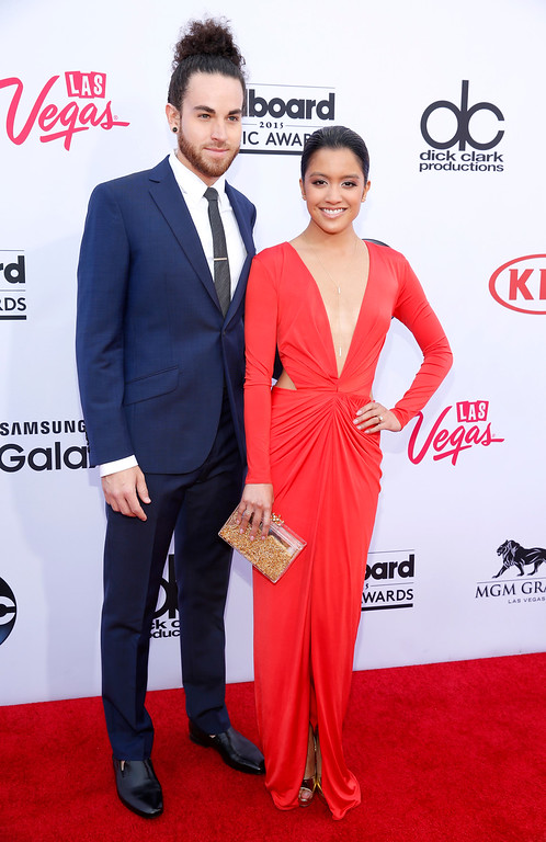 . Michael Alvarado, left, and Carissa Alvarado arrive at the Billboard Music Awards at the MGM Grand Garden Arena on Sunday, May 17, 2015, in Las Vegas. (Photo by Eric Jamison/Invision/AP)