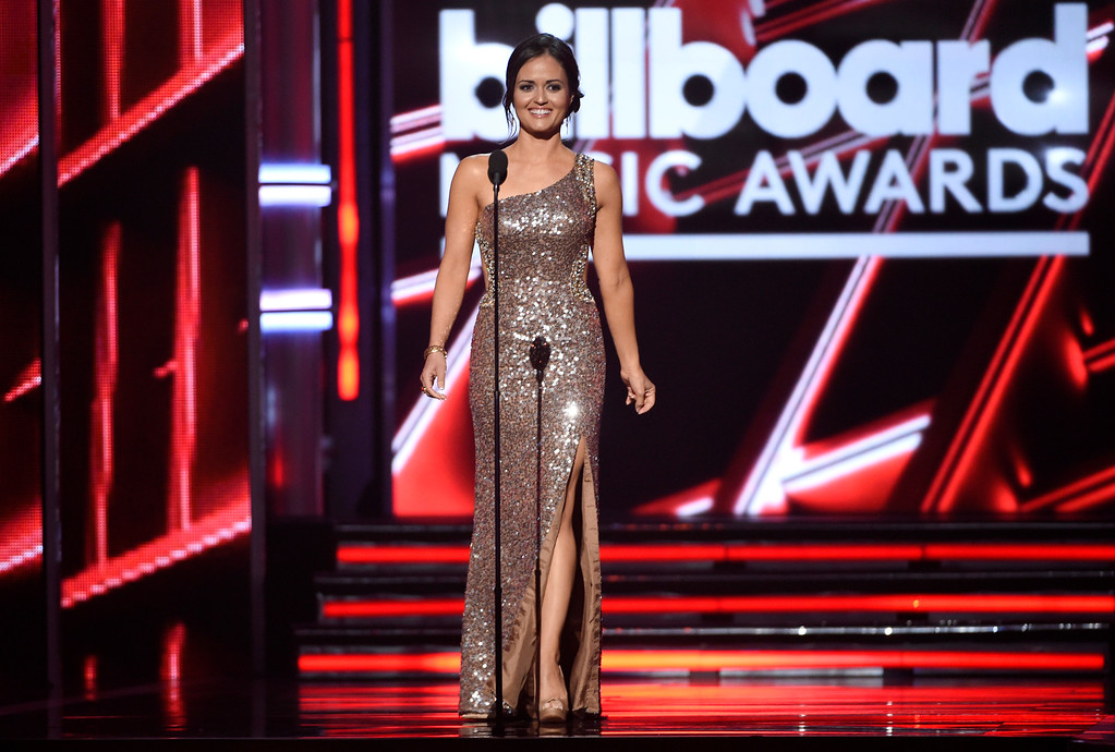 . Danica McKellar presents the award for top rap song at the Billboard Music Awards at the MGM Grand Garden Arena on Sunday, May 17, 2015, in Las Vegas. (Photo by Chris Pizzello/Invision/AP)