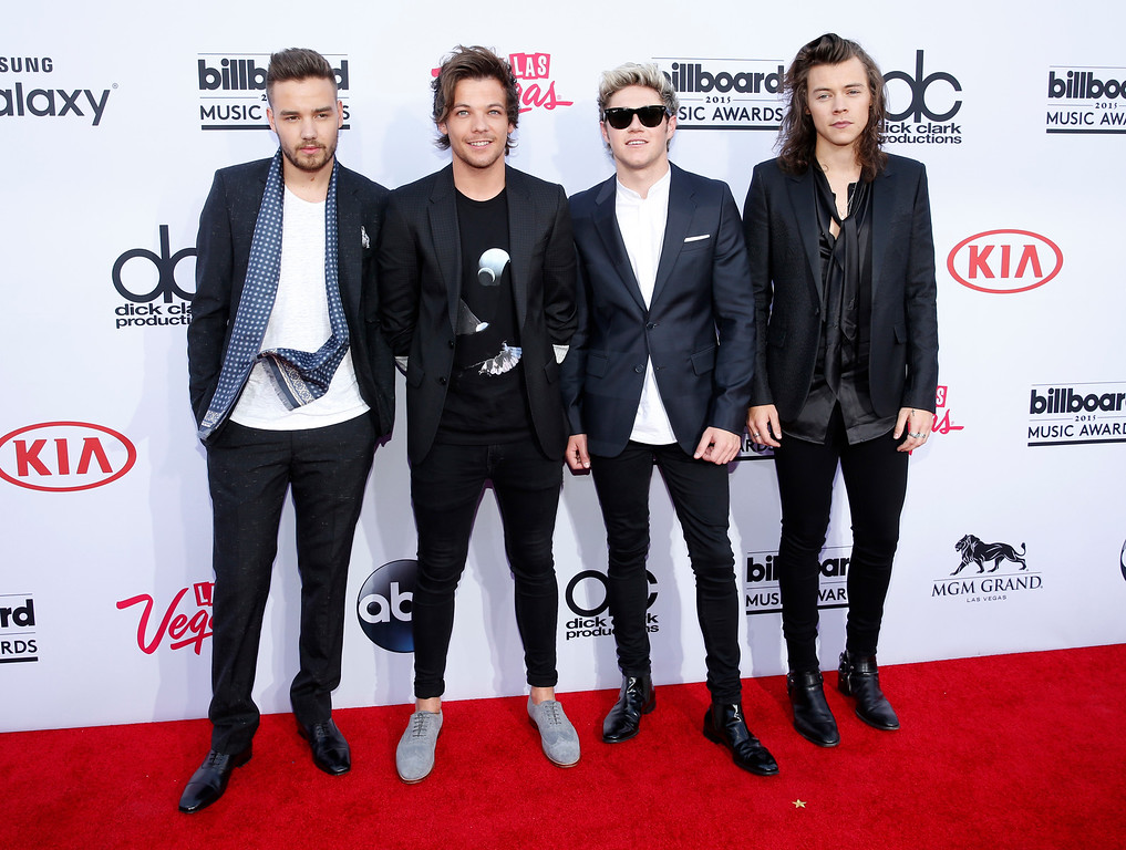. Liam Payne, from left, Louis Tomlinson, Niall Horan, and Harry Styles of the musical group One Direction arrive at the Billboard Music Awards at the MGM Grand Garden Arena on Sunday, May 17, 2015, in Las Vegas. (Photo by Eric Jamison/Invision/AP)