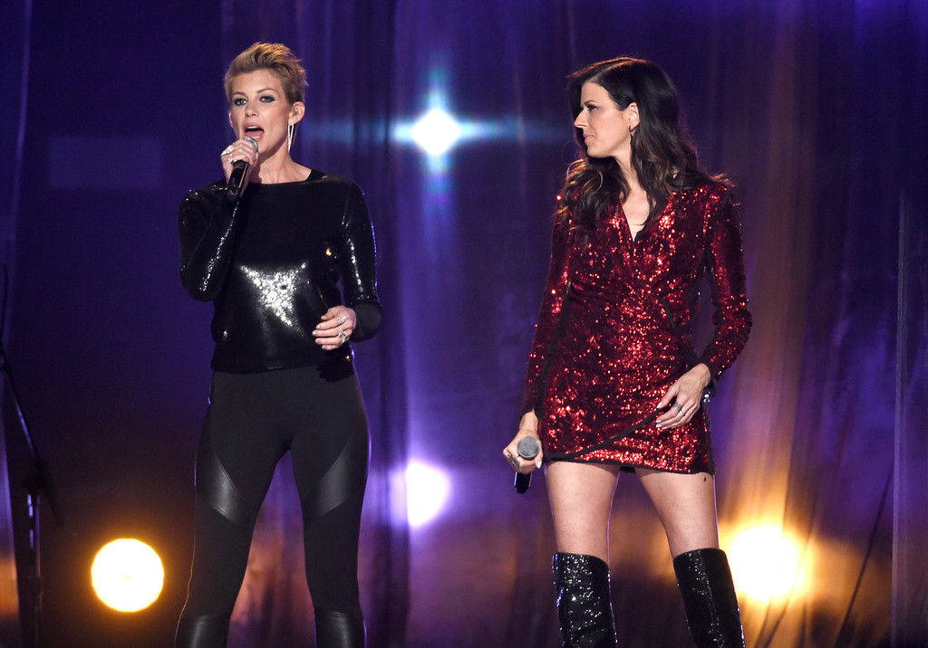 . Faith Hill, left, and Karen Fairchild perform at the Billboard Music Awards at the MGM Grand Garden Arena on Sunday, May 17, 2015, in Las Vegas. (Photo by Chris Pizzello/Invision/AP)