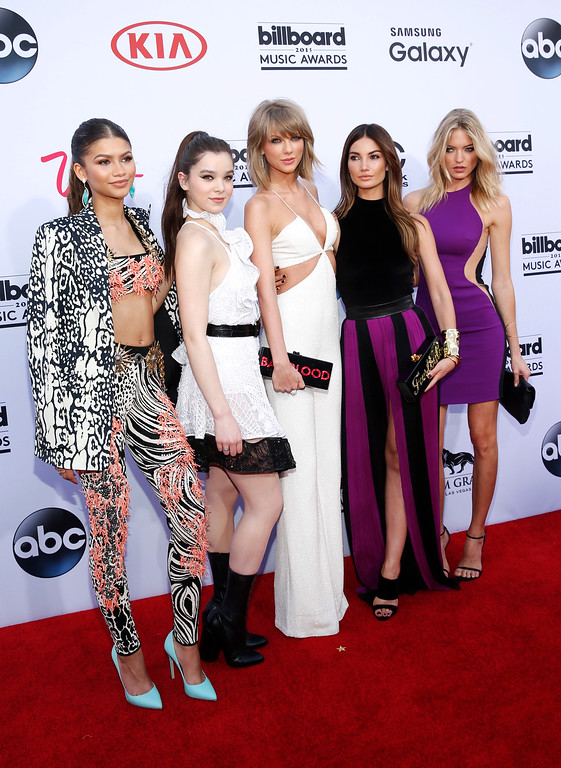 . Zendaya, from left, Hailee Steinfeld, Taylor Swift, Lily Aldridge, and Martha Hunt arrive at the Billboard Music Awards at the MGM Grand Garden Arena on Sunday, May 17, 2015, in Las Vegas. (Photo by Eric Jamison/Invision/AP)
