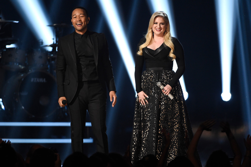 . John Legend, left, and Meghan Trainor perform at the Billboard Music Awards at the MGM Grand Garden Arena on Sunday, May 17, 2015, in Las Vegas. (Photo by Chris Pizzello/Invision/AP)
