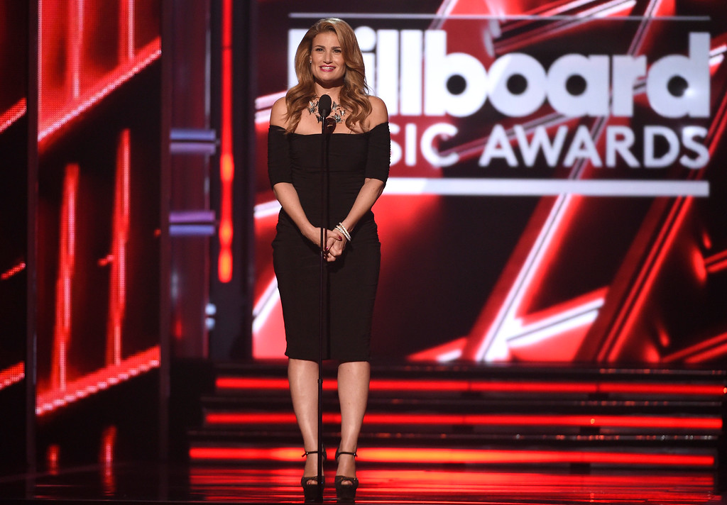 . Idina Menzel introduces a performance by Mariah Carey at the Billboard Music Awards at the MGM Grand Garden Arena on Sunday, May 17, 2015, in Las Vegas. (Photo by Chris Pizzello/Invision/AP)