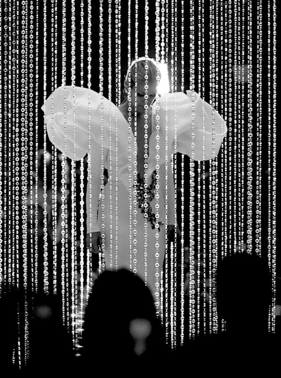 . LAS VEGAS, NV - MAY 21:   (EDITORS NOTE: Image has been converted to black and white.)  Singer Celine Dion performs onstage during the 2017 Billboard Music Awards at T-Mobile Arena on May 21, 2017 in Las Vegas, Nevada.  (Photo by Ethan Miller/Getty Images)