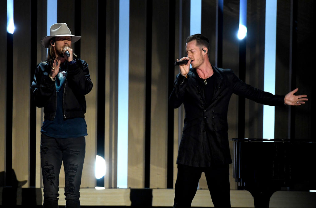 . LAS VEGAS, NV - MAY 21:  Musicians Brian Kelley (L) and Tyler Hubbard of Florida Georgia Line perform onstage during the 2017 Billboard Music Awards at T-Mobile Arena on May 21, 2017 in Las Vegas, Nevada.  (Photo by Ethan Miller/Getty Images)