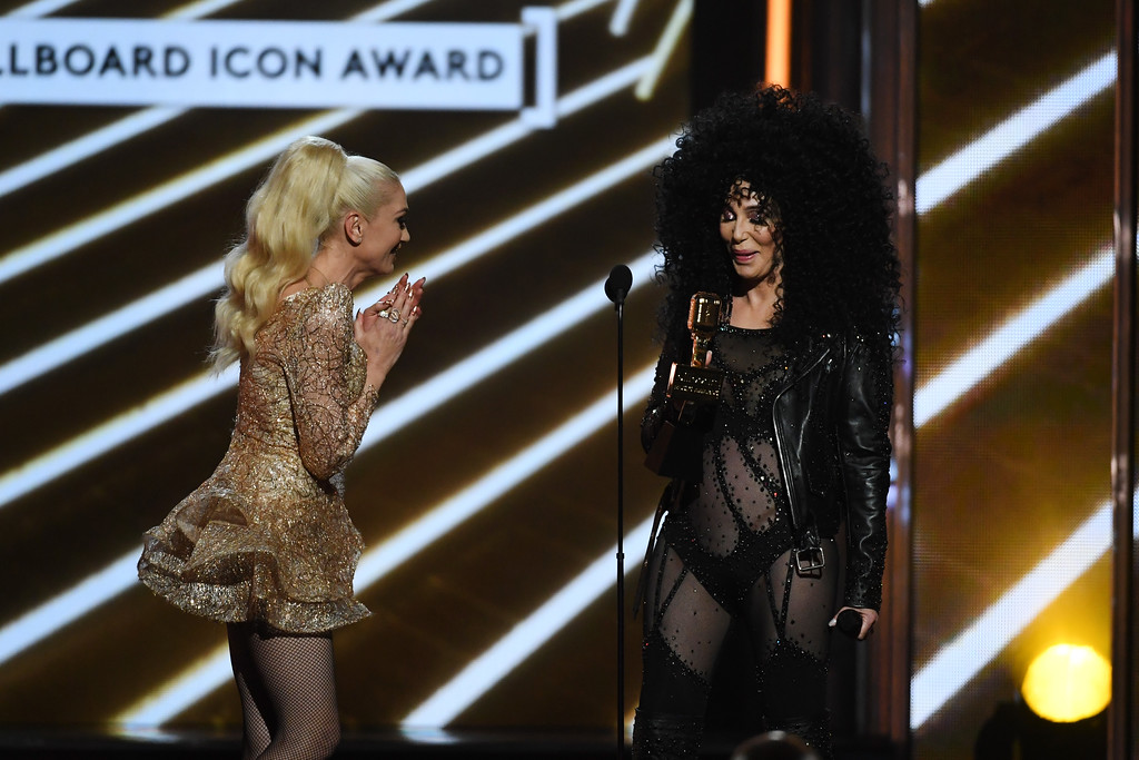 . LAS VEGAS, NV - MAY 21:  Honoree Cher (R) accepts the Billboard Icon Award from singer Gwen Stefani onstage during the 2017 Billboard Music Awards at T-Mobile Arena on May 21, 2017 in Las Vegas, Nevada.  (Photo by Ethan Miller/Getty Images)