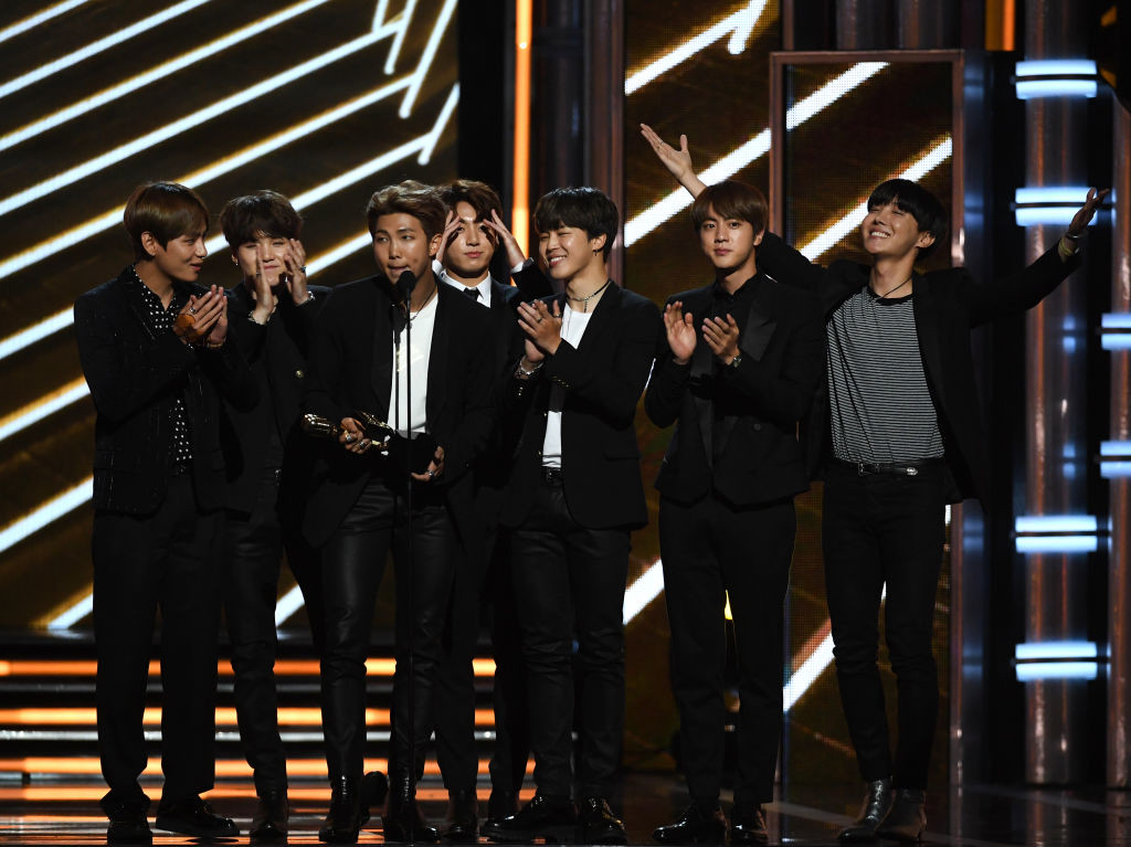 . LAS VEGAS, NV - MAY 21:  Music group BTS accepts Top Social Artist onstage during the 2017 Billboard Music Awards at T-Mobile Arena on May 21, 2017 in Las Vegas, Nevada.  (Photo by Ethan Miller/Getty Images)