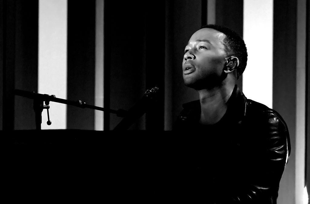 . LAS VEGAS, NV - MAY 21:  (EDITORS NOTE: Image has been converted to black and white.)  Musician John Legend performs onstage during the 2017 Billboard Music Awards at T-Mobile Arena on May 21, 2017 in Las Vegas, Nevada.  (Photo by Ethan Miller/Getty Images)