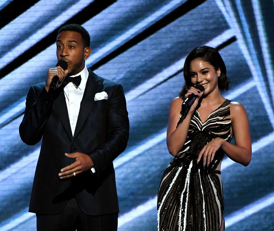 . LAS VEGAS, NV - MAY 21:  Co-hosts Ludacris (L) and Vanessa Hudgens speak onstage during the 2017 Billboard Music Awards at T-Mobile Arena on May 21, 2017 in Las Vegas, Nevada.  (Photo by Ethan Miller/Getty Images)