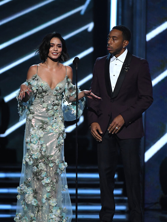 . LAS VEGAS, NV - MAY 21:  Co-hosts Vanessa Hudgens and Ludacris speak onstage during the 2017 Billboard Music Awards at T-Mobile Arena on May 21, 2017 in Las Vegas, Nevada.  (Photo by Ethan Miller/Getty Images)