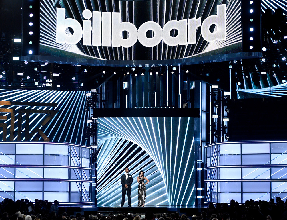 . Hosts Ludacris, left, and Vanessa Hudgens speak at the Billboard Music Awards at the T-Mobile Arena on Sunday, May 21, 2017, in Las Vegas. (Photo by Chris Pizzello/Invision/AP)