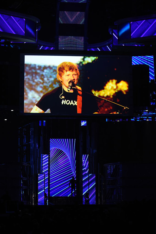 . LAS VEGAS, NV - MAY 21:  Musician Ed Sheeran performs via video feed during the 2017 Billboard Music Awards at T-Mobile Arena on May 21, 2017 in Las Vegas, Nevada.  (Photo by Ethan Miller/Getty Images)