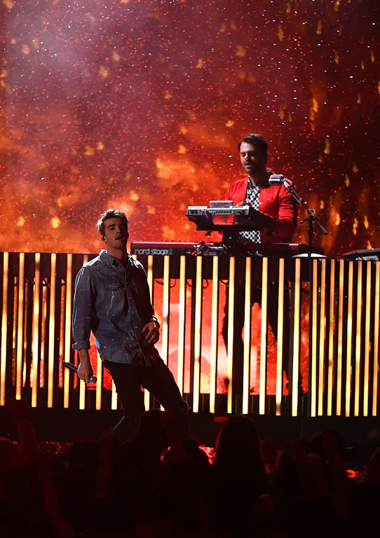 . LAS VEGAS, NV - MAY 21:  Musicians Andrew Taggart (L) and Alex Pall of The Chainsmokers perform onstage during the 2017 Billboard Music Awards at T-Mobile Arena on May 21, 2017 in Las Vegas, Nevada.  (Photo by Ethan Miller/Getty Images)