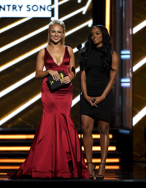 . LAS VEGAS, NV - MAY 21:  Miss America 2017 Savvy Shields (L) and TV personality Rachel Lindsay speak onstage during the 2017 Billboard Music Awards at T-Mobile Arena on May 21, 2017 in Las Vegas, Nevada.  (Photo by Ethan Miller/Getty Images)