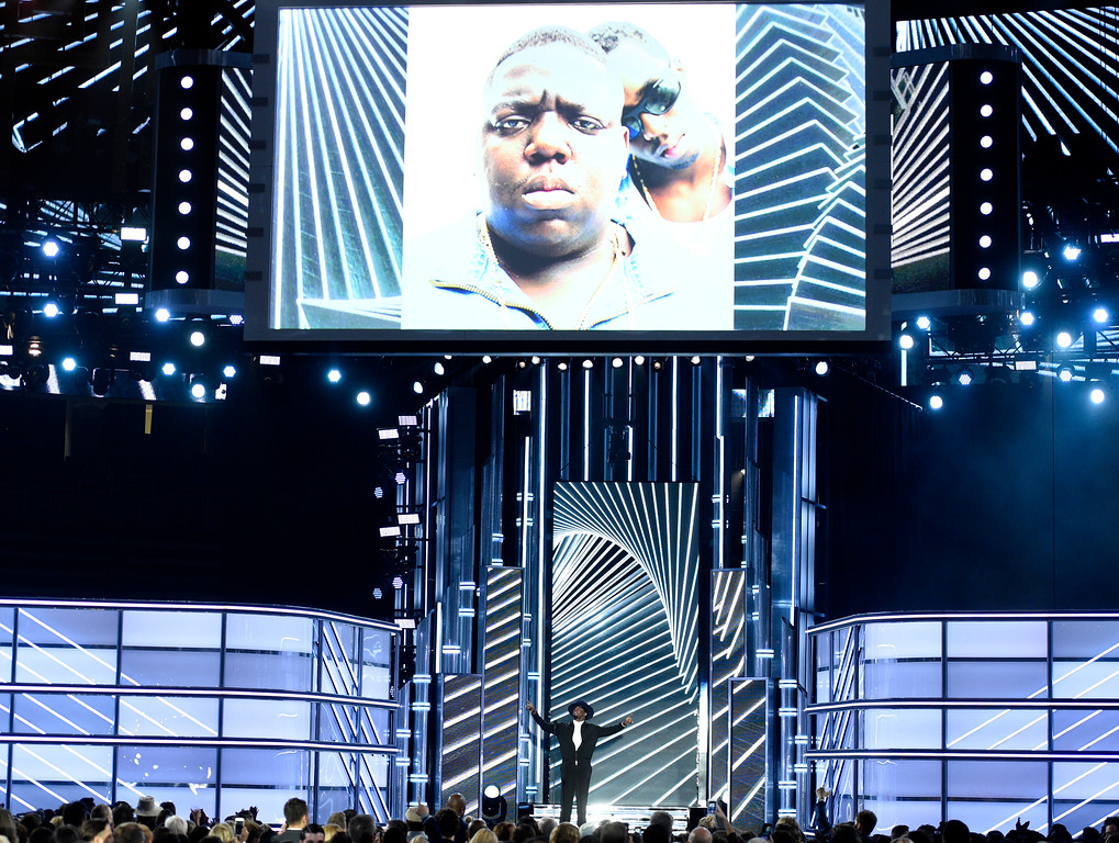 ". Sean ""Diddy\"" Combs presents a tribute to Biggie Smalls at the Billboard Music Awards at the T-Mobile Arena on Sunday, May 21, 2017, in Las Vegas. (Photo by Chris Pizzello/Invision/AP)"