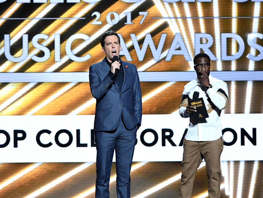 . LAS VEGAS, NV - MAY 21:  Actors Ed Helms (L) and Kevin Hart speak onstage during the 2017 Billboard Music Awards at T-Mobile Arena on May 21, 2017 in Las Vegas, Nevada.  (Photo by Ethan Miller/Getty Images)