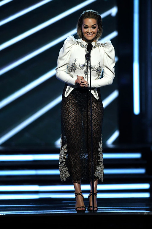 . LAS VEGAS, NV - MAY 21:  Singer Rita Ora speaks onstage during the 2017 Billboard Music Awards at T-Mobile Arena on May 21, 2017 in Las Vegas, Nevada.  (Photo by Ethan Miller/Getty Images)