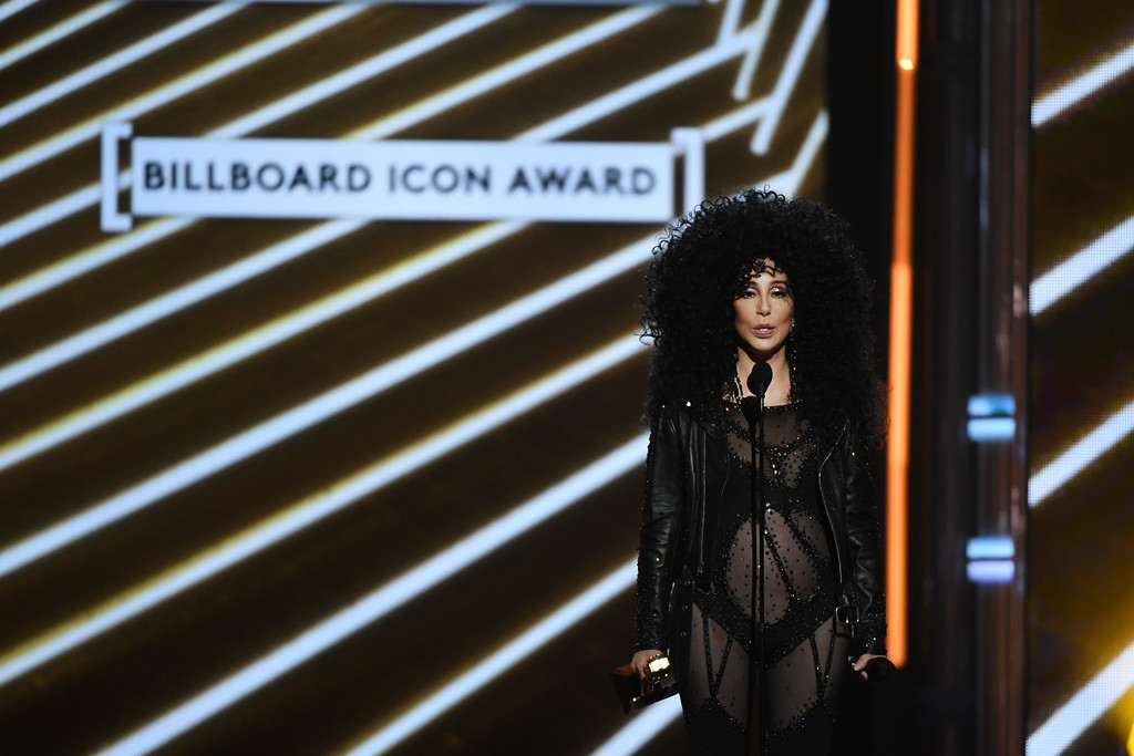 . LAS VEGAS, NV - MAY 21:  Honoree Cher accepts the Billboard Icon Award onstage during the 2017 Billboard Music Awards at T-Mobile Arena on May 21, 2017 in Las Vegas, Nevada.  (Photo by Ethan Miller/Getty Images)