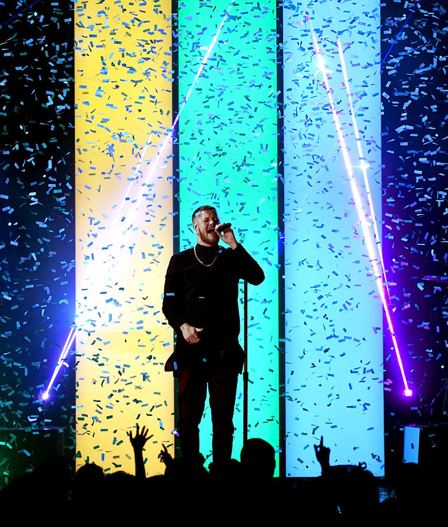 . LAS VEGAS, NV - MAY 21:  Singer Dan Reynolds of Imagine Dragons performs onstage during the 2017 Billboard Music Awards at T-Mobile Arena on May 21, 2017 in Las Vegas, Nevada.  (Photo by Ethan Miller/Getty Images)