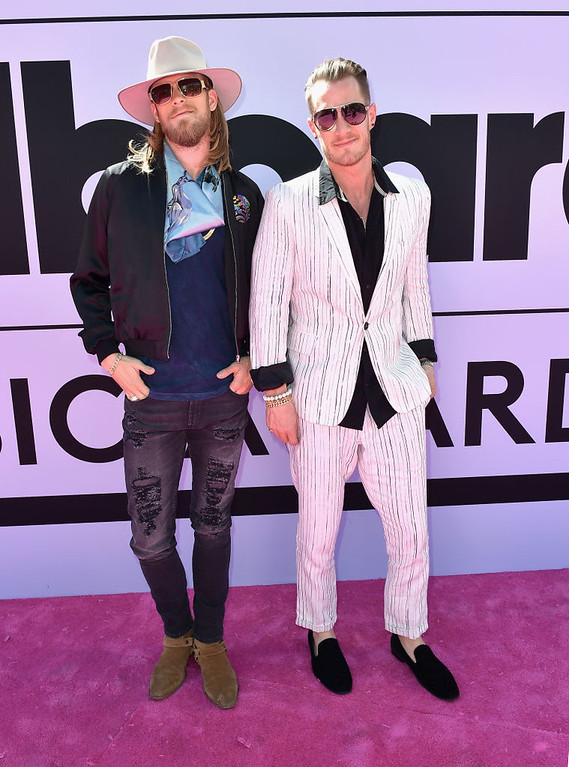 . LAS VEGAS, NV - MAY 21:  Recording artists Brian Kelley (L) and Tyler Hubbard of music group Florida Georgia Line attend the 2017 Billboard Music Awards at T-Mobile Arena on May 21, 2017 in Las Vegas, Nevada.  (Photo by Gustavo Caballero/Getty Images )