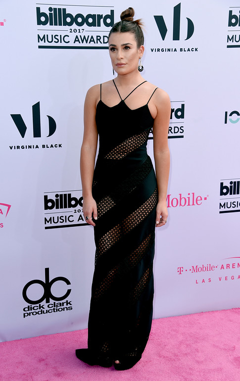 . Lea Michele arrives at the Billboard Music Awards at the T-Mobile Arena on Sunday, May 21, 2017, in Las Vegas. (Photo by Richard Shotwell/Invision/AP)