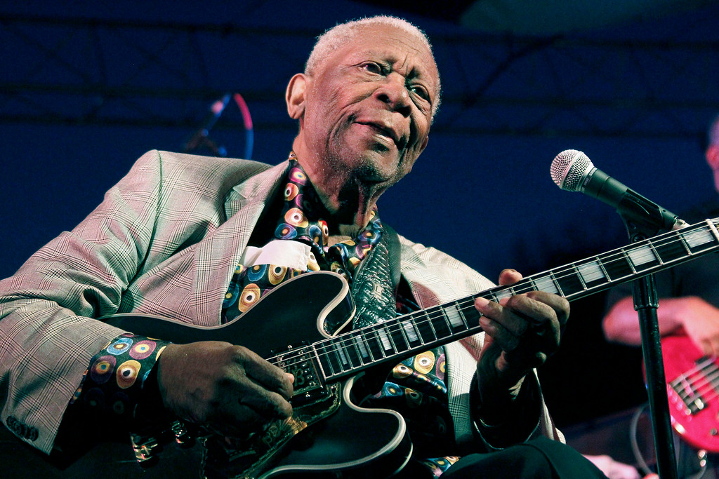 . FILE -  In this file photo taken Aug. 22, 2012, B.B. King performs at the 32nd annual B.B. King Homecoming, a concert on the grounds of an old cotton gin where he worked as a teenager in Indianola, Miss. King died Thursday, May 14, 2015, peacefully in his sleep at his Las Vegas home at age 89, his lawyer said.   (AP Photo/Rogelio V. Solis, File)