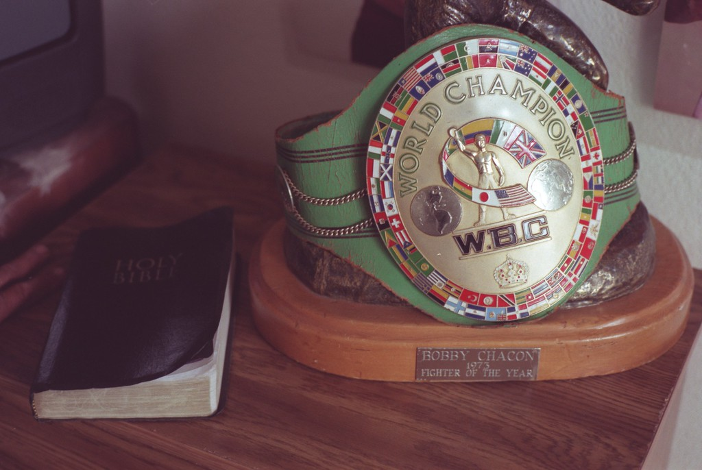 . In this 2001 file photo, former boxing champion Bobby Chacon\'s bible sits on his dresser next to the championship belt in Pacoima, California. (Hans Gutknecht/Los Angeles Daily News)