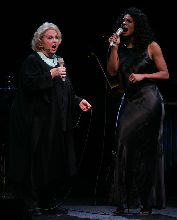". Singers Barbara Cook, left, and Audra McDonald perform a duet together singing ""Blue Skies\"" at the Metropolitan Opera Friday, Jan. 20, 2006  in New York. (AP Photo/Julie Jacobson)"