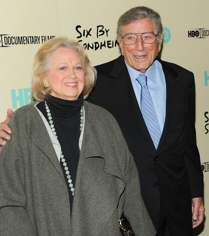 ". Barbara Cook and Tony Bennett attend the premiere of HBO\'s ""Six By Sondheim\"" at the Museum of Modern Art on Monday, Nov. 18, 2013 in New York. (Photo by Evan Agostini/Invision/AP)"
