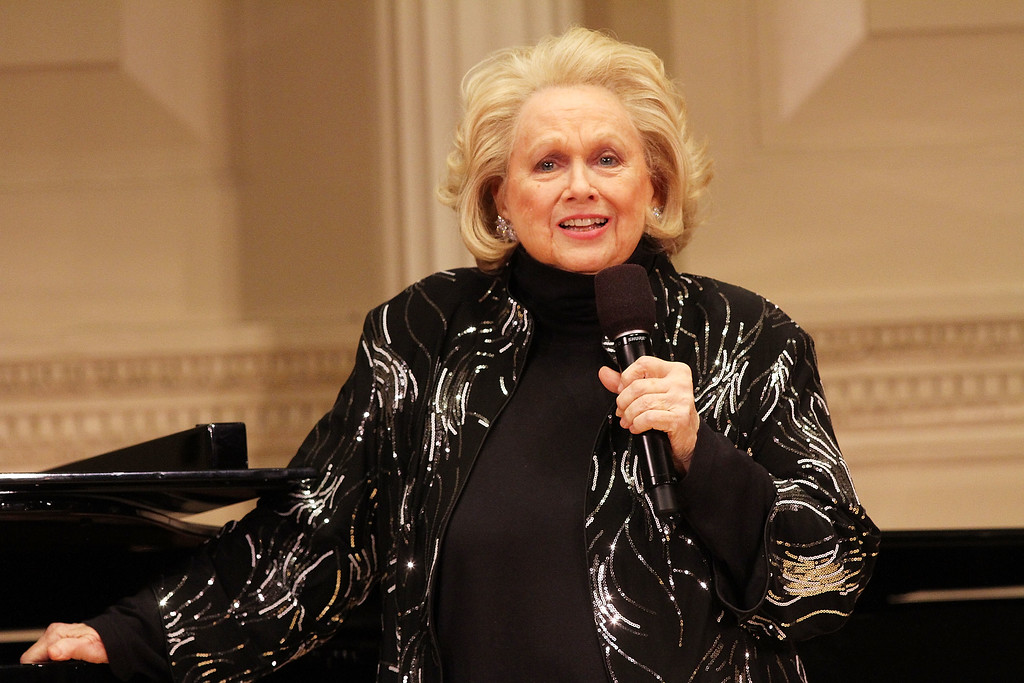 ". File - Barbara Cook attends the ""Remembering Lenny\"" A Gala Celebration Of Leonard Bernstein during the 2014 New York Festival of Song at Carnegie Hall on April 28, 2014 in New York City. Cook, whose shimmering soprano made her one of Broadway\'s leading ingenues and later a major cabaret and concert interpreter of popular American song, has died. She was 89. (Photo by Laura Cavanaugh/Getty Images)"