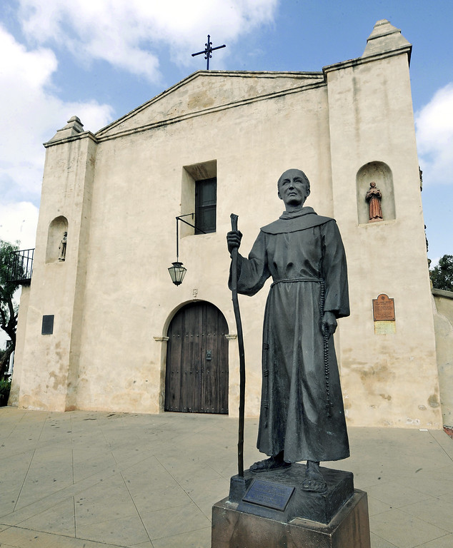 . A statue of Fray Junipero Serra, Founder of the California Missions in front of the San Gabriel Mission. (Photo by Walt Mancini, Pasadena Star-News/SCNG)