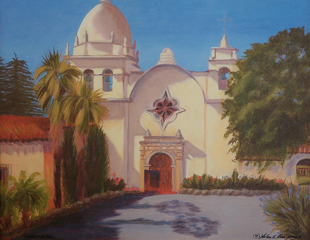 . Mission San Carlo Borromeo de Carmelo, painted by Riverside Artist Helen Bell.  (THE PRESS-ENTERPRISE/David Bauman)