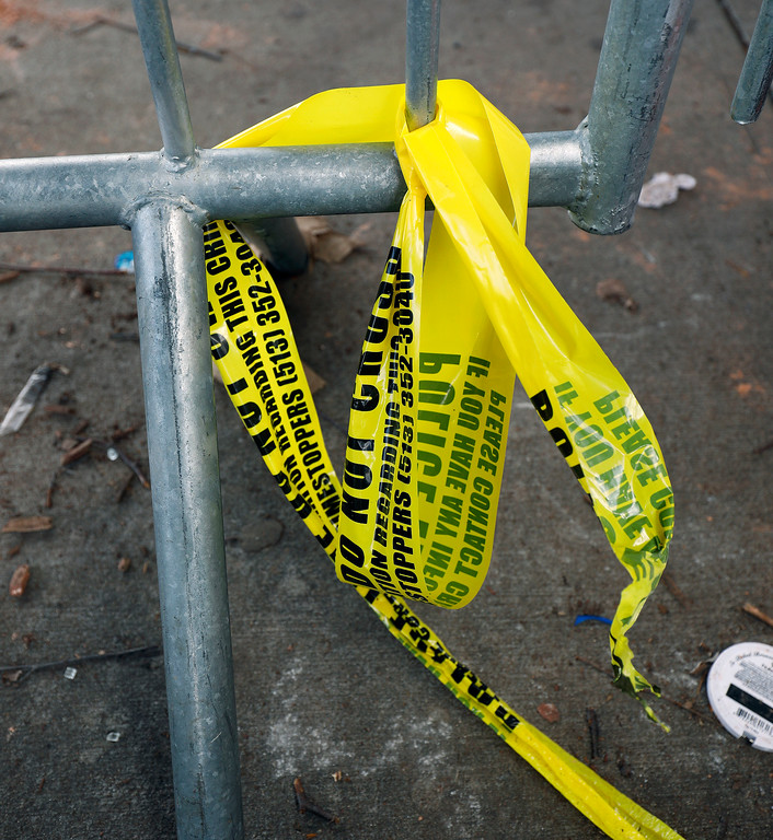 . CINCINNATI, OH - MARCH 26:  Police tape outside of the Cameo Night Club after a shooting that left one man dead and injuring 15 others March 26, 2017 in Cincinnati, Ohio. No suspect  has been arrested after a dispute broke out among several men. (Photo by Bill Pugliano/Getty Images)