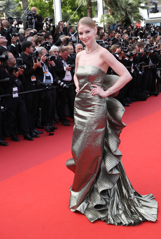 . Actress Svetlana Khodchenkova poses for photographers upon arrival at the 70th Anniversary of the film festival, Cannes, southern France, Tuesday, May 23, 2017. (AP Photo/Alastair Grant)
