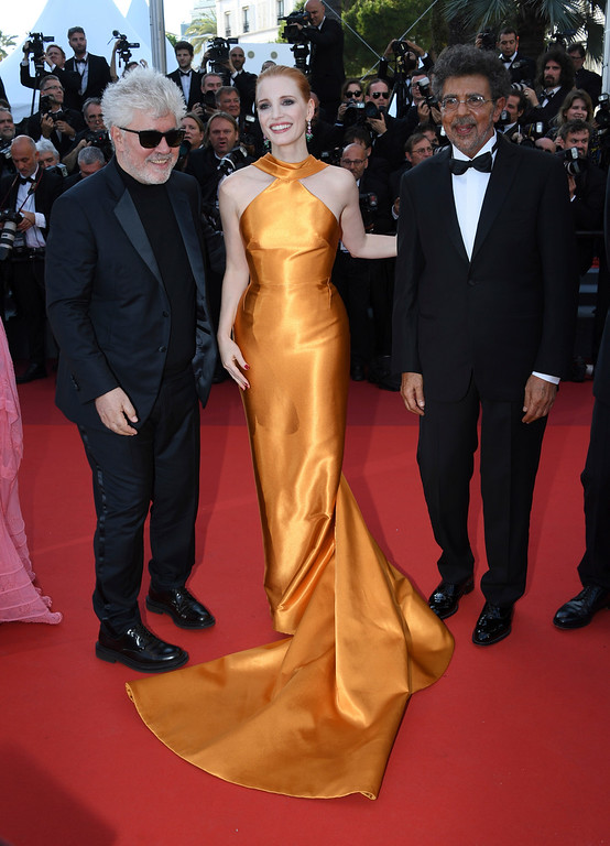 . President of the jury, Pedro Almodovar, from left, jury members Jessica Chastain and Gabriel Yared pose for photographers upon arrival at the 70th Anniversary of the film festival, Cannes, southern France, Tuesday, May 23, 2017. (Photo by Arthur Mola/Invision/AP)