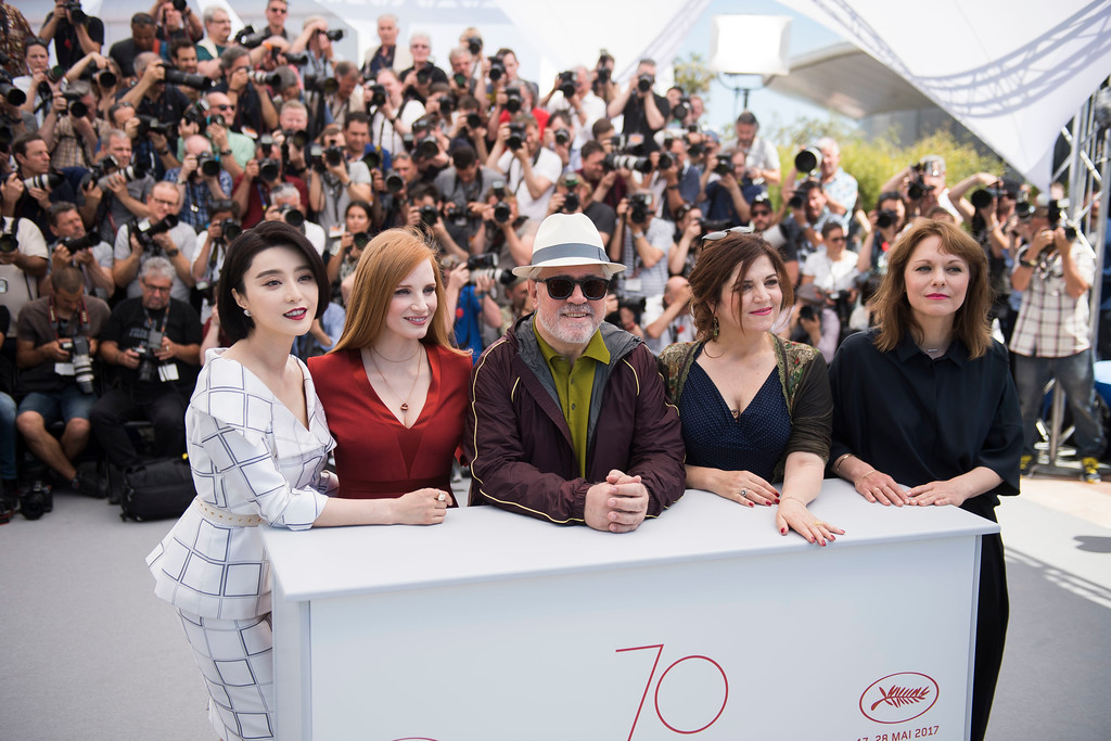 . From left, jury members Fan Bingbing and Jessica Chastain, President of the jury Pedro Almodovar, and jury members Agnes Jaoui and Maren Ade pose for photographers during the Jury photo call at the 70th international film festival, Cannes, southern France, Wednesday, May 17, 2017. (Photo by Arthur Mola/Invision/AP)