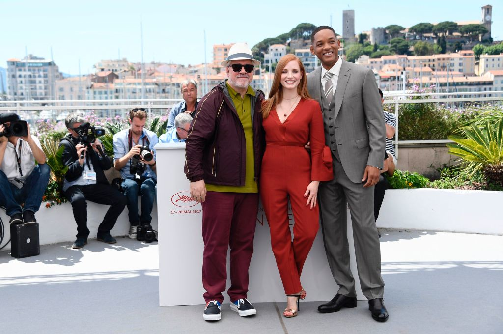 . (FromL) Spanish director and President of the Feature Film Jury Pedro Almodovar, US actress and member of the Feature Film jury Jessica Chastain and US actor and member of the Feature Film jury Will Smith pose on May 17, 2017 during a photocall ahead of the opening ceremony of the 70th edition of the Cannes Film Festival in Cannes, southern France.  (ANNE-CHRISTINE POUJOULAT/AFP/Getty Images)