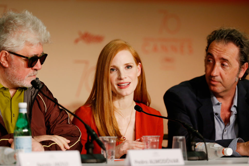 . CANNES, FRANCE - MAY 17:  (L-R) President of the jury Pedro Almodovar and jury members Jessica Chastain and Paolo Sorrentino attend the Jury press conference during the 70th annual Cannes Film Festival at Palais des Festivals on May 17, 2017 in Cannes, France.  (Photo by Getty Images/Getty Images)