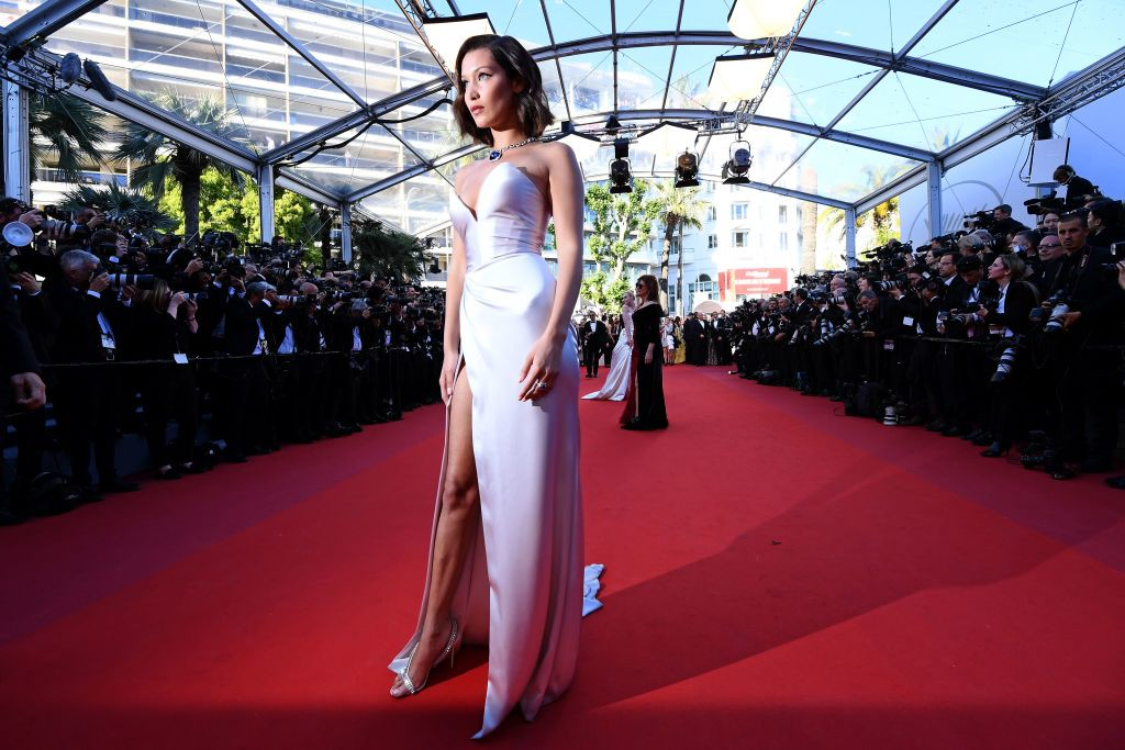 . US model Bella Hadid poses as she arrives on May 17, 2017 for the screening of the film \'Ismael\'s Ghosts\' (Les Fantomes d\'Ismael) during the opening ceremony of the 70th edition of the Cannes Film Festival in Cannes, southern France.    (ANNE-CHRISTINE POUJOULAT/AFP/Getty Images)